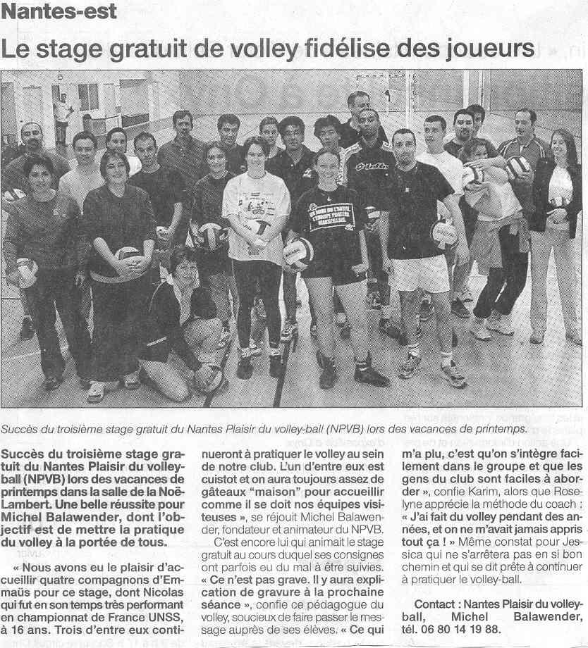 Nantes plaisir du volley ball montreuil plaisir du volley ball - Ouest france le journal gratuit ...
